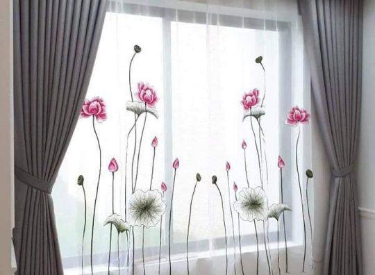 Rèm voan thêu hoa văn nghệ thuật tại Hà Tĩnh